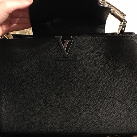 5e288d3a7d6 Louis Vuitton Bags | Black Leather Python Capucines Satchel Mm ...